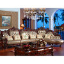 Роскошные Италия кожаный диван с деревянной рамкой софы (ЖЛ-D807)
