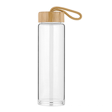Chinese Reusable Glass Water Bottle With Bamboo Cover 0.5 Litre