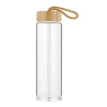 Garrafa de água de vidro reusável chinesa com tampa de bambu 0,5 litros