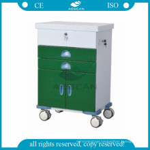 AG-GS004 CE ISO ward room equipment powder coating steel medical trolley for patient with wheels