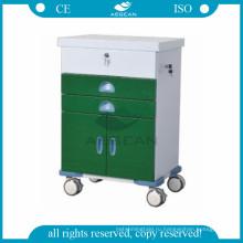 АГ-GS004 се палату номер оборудования порошка покрывая стальная медицинская вагонетка для пациента с колесами