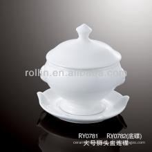 Tazón de fuente de sopa de porcelana de 325 ml con tapa y manijas