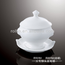Bol de soupe de porcelaine de 325 ml avec couvercle et poignées