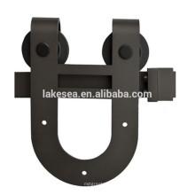 U Shaped Black Barn Door Hardware, Hang Sliding Door Hardware