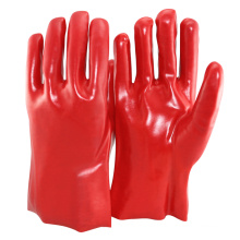 NMSAFETY forro de algodón de manga larga pvc cubierto guante rojo