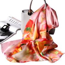 Agradable de largo completo y cómodo con estilo personalizado impreso seda hagnzhou fábrica oem floral bufanda tingyu