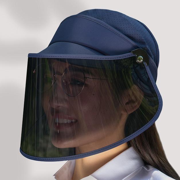 Large Brim Face Shield Fashion Sun Visor Cap Factory Wholesale Plastic Sun Visor Hat For Women Men Supplier Protective Hat Face Mask