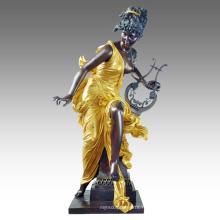 Grande Figure Statue Fée Décoration Bronze Sculpture Tpls-050