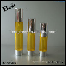 20ml airless bottle, straight round shape airless pump bottle, airless pump bottle with alum cap