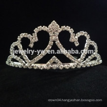 fashion metal silver plated crystal crown shape hair headband