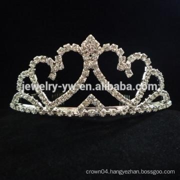 fashion metal silver plated crystal crown shape hair headband