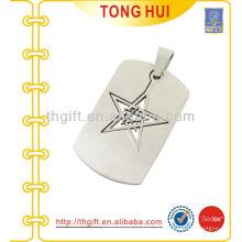 Estrela oca logotipo coleira de etiquetas de grife jóias de imitação