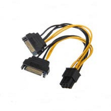 6-Pin PCI-E to SATA 15pin Video Card Power Cable