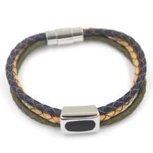 Moda três couro pulseira trançada com fecho de metal