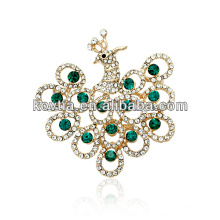 latest product of china artificial gold indian jewellery peacock rhinestone brooches