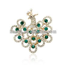 O produto o mais atrasado da jóia indiana do ouro artificial da china broches do rhinestone do pavão