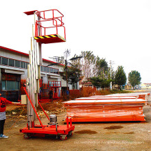 Plataforma de elevação de alumínio com corrente de mastro simples ou dupla