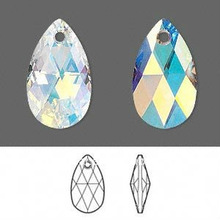 Faceted Pear Pendant 22x13mm,glass teardrop pendant