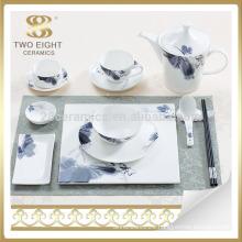 high quality square ceramic dinnerware set with color logo decal
