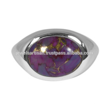 Purple Copper Turquoise Gemstone 925 Solid Silver Ring