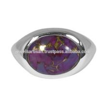 Фиолетовый Меди Бирюзовый Драгоценных Камней 925 Твердые Серебряное Кольцо