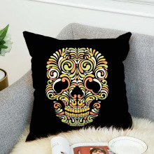 Cute skull customized print 18x18 canvas cushion cover