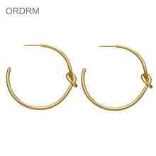 Women Simple love knot Big Gold Hoop Earrings
