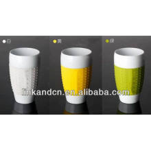 Haonai 2014 tazas de café sin manija de porcelana con funda de silicona