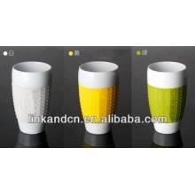 Haonai 2014 porcelain handleless coffee mugs with silicone sleeve