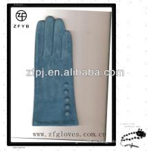Guantes de ante azules suaves lindos modificados para requisitos particulares de la señora