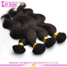 Cabelo europeu da onda do corpo do preço de fábrica de Qingdao, extensões 100% do cabelo humano do Virgin