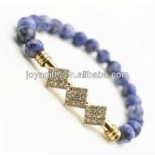 Natural Gemstone Sodalite Handmade Friendship Bracelet With Crystal
