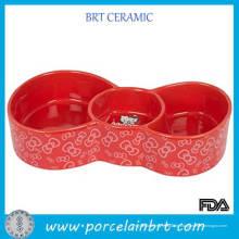 Schmetterlings-Form Pet Printed Bowl mit 2 Trenngitter