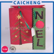Bolsa de regalo de papel kraft personalizado de Navidad con logotipo de impresión