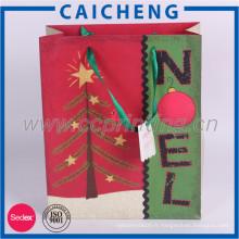 Sac cadeau de papier kraft personnalisé de Noël avec logo imprimé