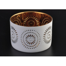 Golden Ceramic Candle Tealight with Hollow Pattern