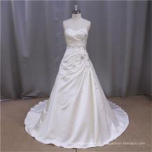 Custom-Made A-line Livraison gratuite satin couture robe de mariée en dentelle