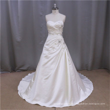 Custom Made A-line free shipping satin sewing lace wedding gown