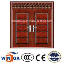 Puerta doble con ventana exterior de acero de seguridad puerta de metal (W-SD-02)