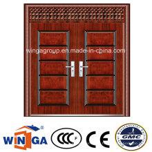 Porta dupla com janela fora de segurança Porta metálica de aço (W-SD-02)