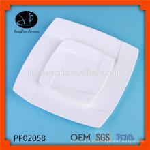 Louça de porcelana quadrada de luxo super whiter, pratos de jantar de porcelana branca de uso diário para o hotel