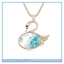 2014 мода 18k золото мисс лебедь формы кристалла свитер ожерелье с стеклянный цилиндр