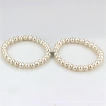 Fresh Water Pearls Bracelet 6.5-7.5mm a+ Near Round White Pearl Bracelet