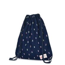 Mochila con cordón estampado de lona y mochila deportiva
