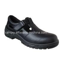 Sapatos de segurança couro liso brilhante com malha forro (HQ01031)