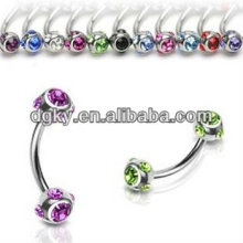 Surgical steel colored eyebrow ring stone eyebrow ring