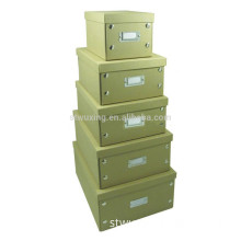 large square decorative foldable cardboard storage box with lid & metal file holder