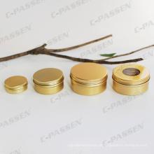 Frasco de alumínio dourado 80g para embalagem de creme de cosméticos