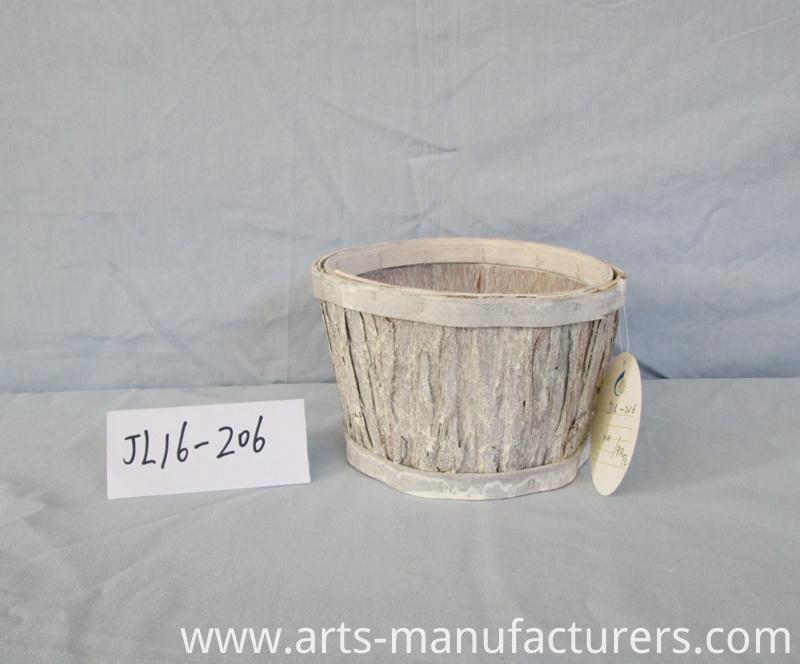 Wood bark flower pot