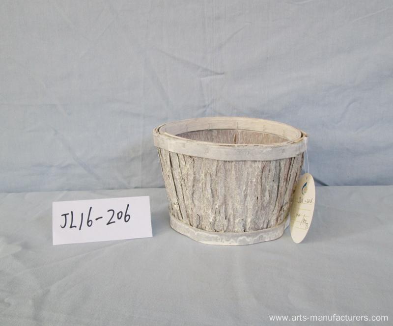 Wash White Wood Bark Flower Pot